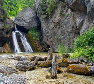 Beautiful waterfall in the forest in national park in Greece
